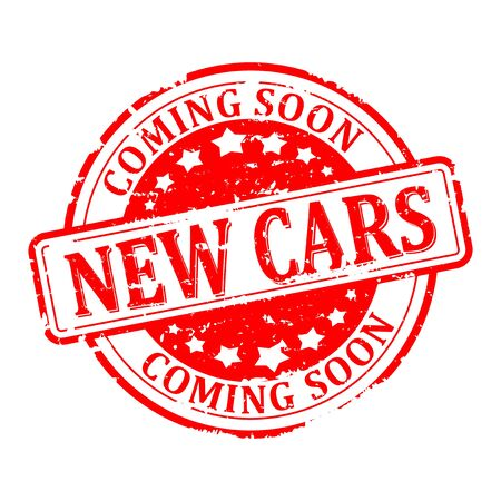 scratched: Scratched round red stamp with the word - new cars - illustration