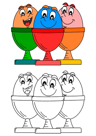 dyed: Three smiling dyed eggs in dishes such as coloring books for little kids -  vector