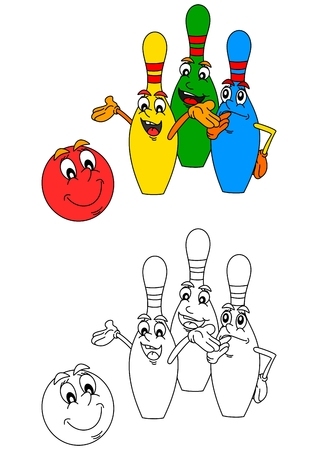 kids artwork: Smiling bowling balls and colorful bowling as a coloring book for young children