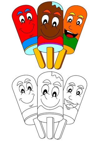 lollies: Smiling colorful ice lollies as a coloring book for little kids