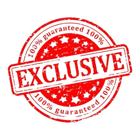 sello rayado redondo rojo con la inscripción - exclusiva, garantizada