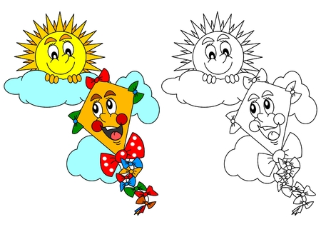 cheerful cartoon: Smiling sun on a cloudless and kite as a coloring for kids