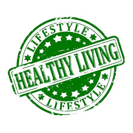 Bekraste groene ronde gestempeld - gezond leven, levensstijl