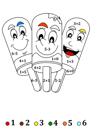 lollies: Calculate the examples and add color to the picture - ice lollies Illustration