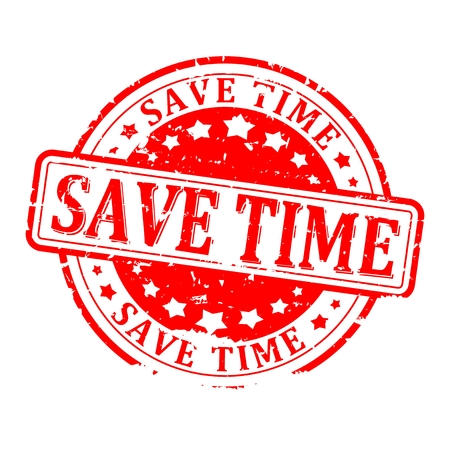 save time: Scratched round red stamped - save time - vector Illustration