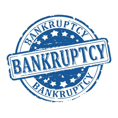 liquidation: Scratched round blue stamp with the word - bankruptcy - vector