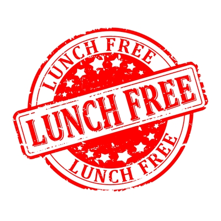 sigillo graffiato rosso rotondo con la scritta - pranzo libero - vettore