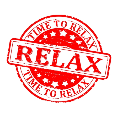oxidative: Scratched round red stamped - time for relax, relax - vector