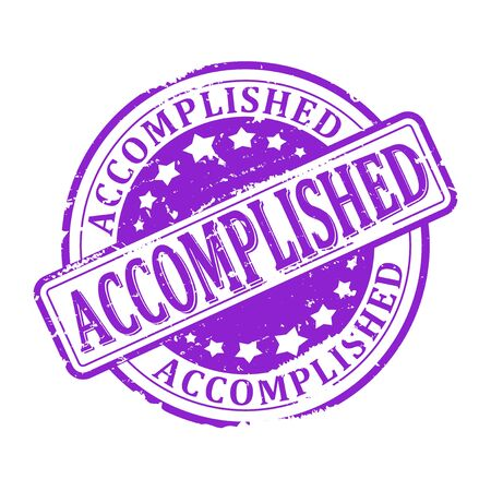 stamped: Scratched round purple stamped - Accomplished - vector