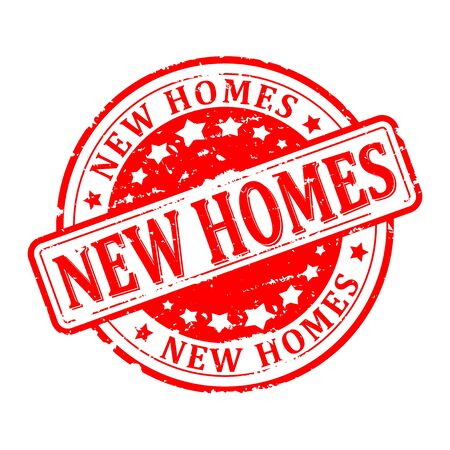 new homes: Scratched round red stamp with the word - new homes - vector Illustration