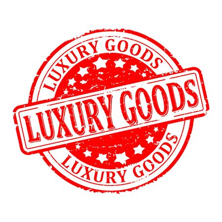 luxury goods: Scratched round red stamp with the word - luxury goods - vector Illustration