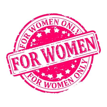 Zerkratzt runden roten Stempel mit dem Wort - nur für Frauen