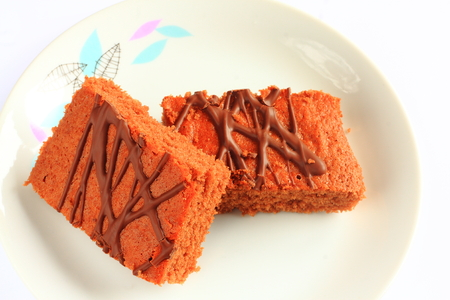 chocolate icing: Traditional Czech sweet cake with chocolate icing