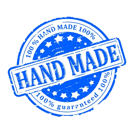 carefully: Scratched blue round stamp with the inscription - hand made