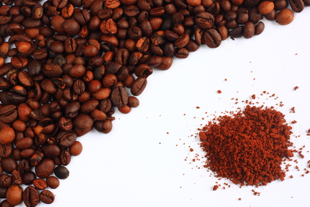 instant coffee: Coffee beans and instant coffee on a white background Stock Photo