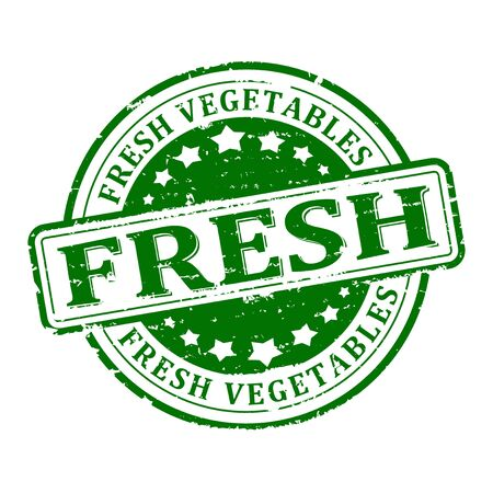 stamped: Scratched green round stamped - fresh vegetables
