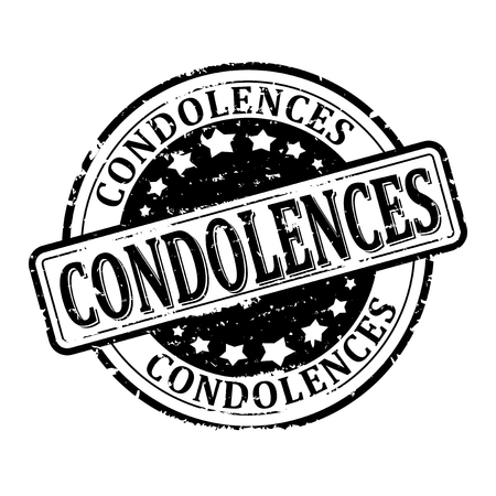 stamped: Black round scratched stamped - Condolences