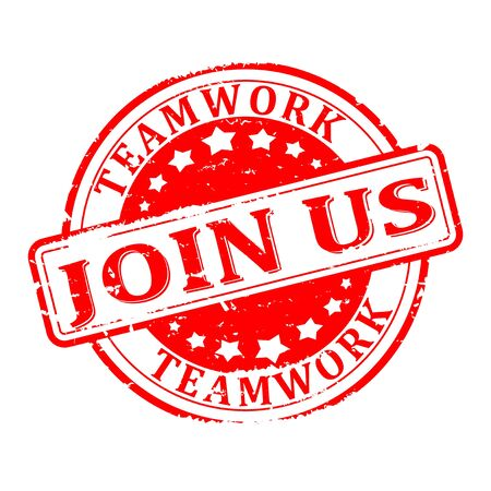 join us: Red round scratched stamped - teamwork, join us.