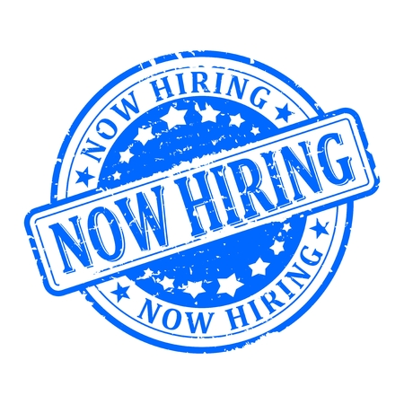 now hiring: Scratched blue round stamp with the inscription - now hiring