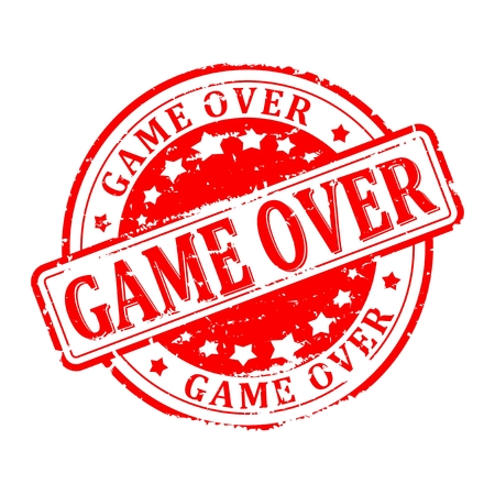 the game is over: Scratched round red stamped -  game over Illustration