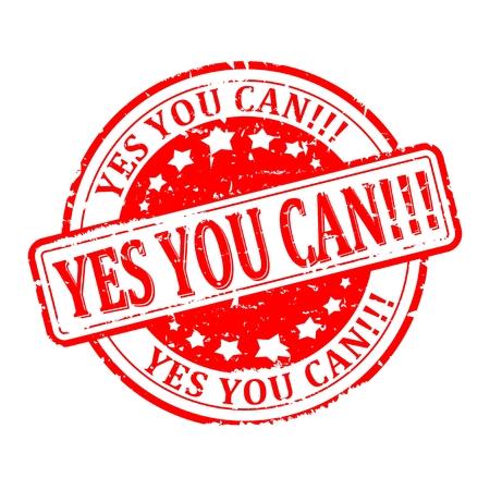 tu puedes: Rayado redondo rojo sello con la palabra - Sí se puede