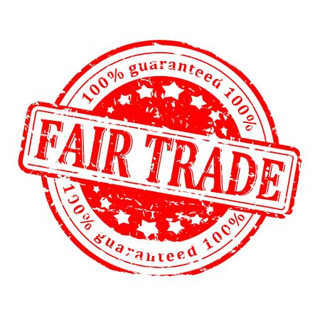 fair trade: Scratched round red stamp with the word - fair trade