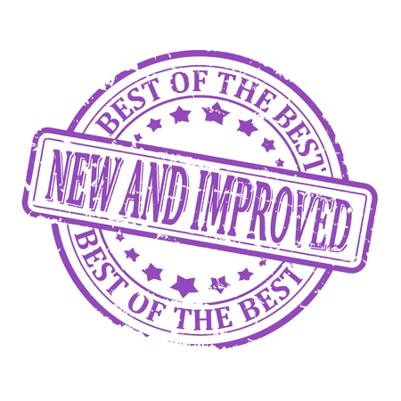 new and improved: Scratched round purple stamped - New and improved, with the best of the best