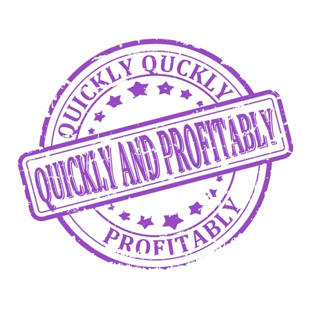 quickly: Scratched round purple stamped - quickly and profitably