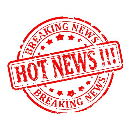 hot news: Scratched round red stamp with the words - hot news, breaking news