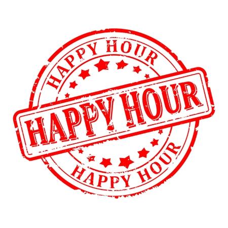 sigillo graffiato rosso rotondo con la scritta - Happy hour - vettore Vettoriali