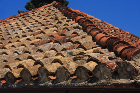 damaged roof: Old damaged roof with clay tiles in Stari Grad on the Croatian island of Hvar