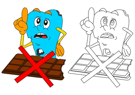 Sad sick tooth with chocolate and slashed warning as coloring books for small children - vector Illustration