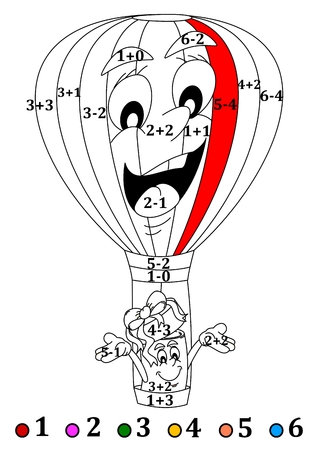 Calculate examples and depending on the results add colors - Hot air balloon and gift - vector