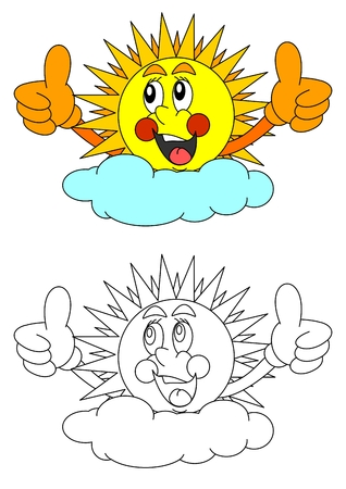 Smiling sun behind the clouds like a coloring book for young children - vector