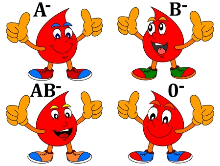 Smiling drop of blood with thumbs-up - Blood minus  -vector