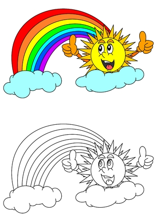 rainbow clouds: Smiling sun with thumbs-up sign, rainbow, clouds and a coloring book for young children - vector