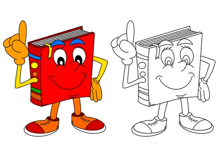 Red book with a raised index finger and a smile on his face as coloring books for small children - vector