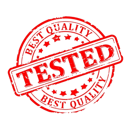 best quality: Scratched red round seal with the inscription - tested, the best quality - Vector