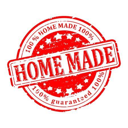 Sello redondo rojo rayado con la inscripción - hecho en casa - Vector