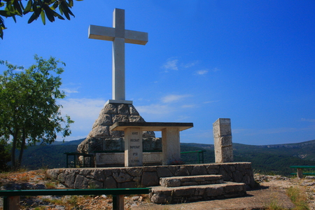 A large cross on a hill Glavica in Stari Grad on the Croatian island of Hvar