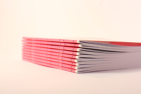 Nine pink school books on a light background