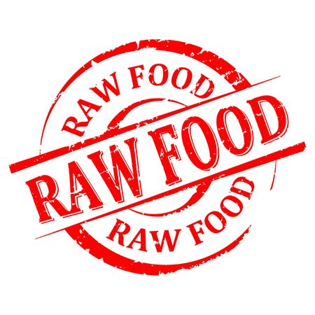 Scratched round red stamp with the word - raw food. Ilustrace
