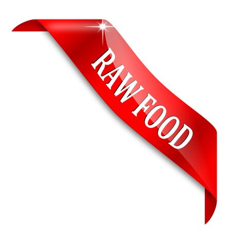 Red ribbon around the corner with a sign - raw food