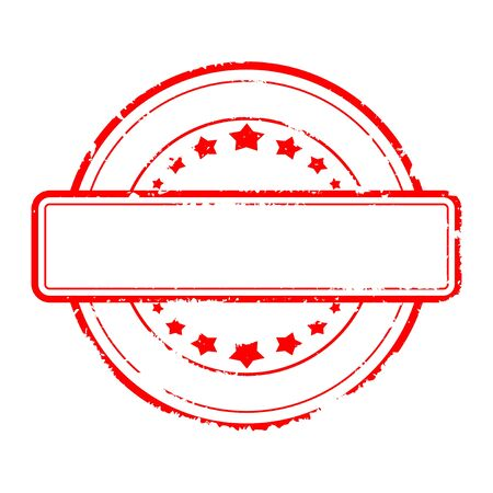 Damaged round red stamp without text - vector