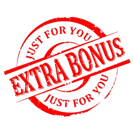 Scratched round red stamp with the word -  extra bonus, just for you - vector Illustration