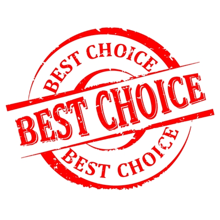 most popular: Scratched round red stamp with the word -  best choice - vector