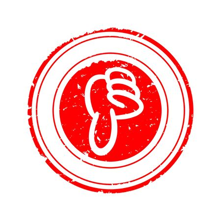 Scratched round red stamp with thumb down - vector Ilustrace