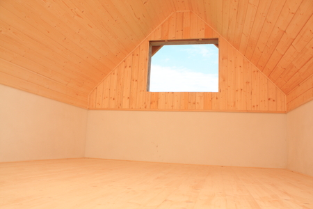 Attic room lined with wooden - spruce - decking