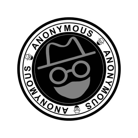 Round black rubber stamp with the word anonymous and with head with hat