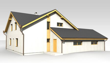 Large family house render on grey backround  Stock Photo - 13943412